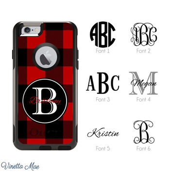 iPhone Otterbox Case for iPhone 5, 5s, 6, 6 Plus Monogrammed Buffalo Check Lumberjack Plaid Personalized Cell Phone Case Plastic Cover 1146