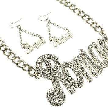 Link chain Crystal Stone Paved Message Roman Necklace Earring Set