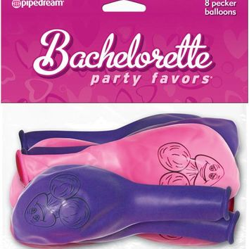 Bachelorette Party Favors Pecker Balloons - Pink & Purple Pack Of 8