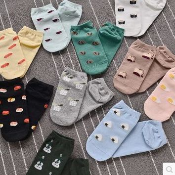 Sushi, Eggs, Teabags & More - Ankle Length Socks Funny Crazy Cool Novelty Cute Fun Funky Colorful