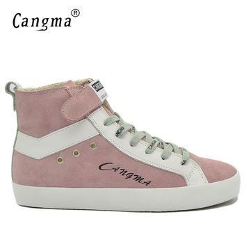 CANGMA Fashion Man Boots Shoes Mens Italian Designer Handmade Male Pink Genuine Leather Sneakers Cow Suede Shoes Ankle Boots