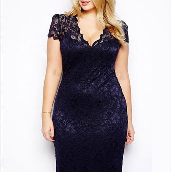 2014 New Style Women Summer Dress Plus Size 4XL Sexy Pencil Bodycon Dress Short Sleeve V Neck Slim Fit Blue Lace vestidos XXXL = 1956663876
