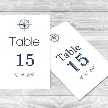 Nautical Compass Wedding Table Numbers Template - DIY Printable Navy Compass Table Number Card Template - Editable PDF - DIY You Print