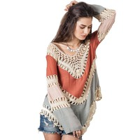 Autumn Women Boho V-neck Crochet Blouse Long Kimono Knitted Tunic Tops