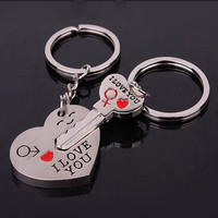 Valentine's Day Lover Gift Couple Keychain Keyring Keyfob Heart Key 'I love you'