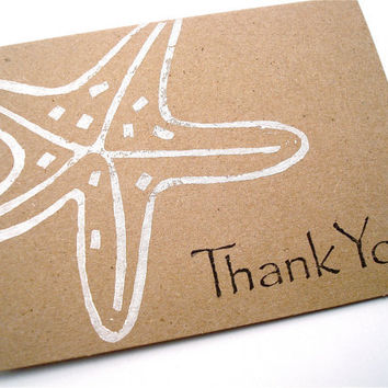 Starfish Thank You Note Cards - Gift Cards - Lino Block Print - White and Black Print on Brown Kraft Card Stock Paper - Set of 5