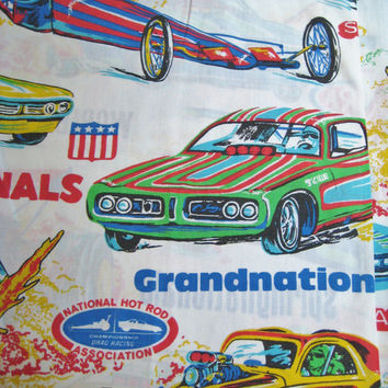 Vintage Race Car Dragster NHRA National Hot Rod Association Grandnational Flat Sheet TWIN Size Kid Boy Bedding Craft Fabric Clean Used