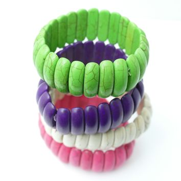 12 Assorted Stretch Ethnic Bracelets (unit Price $ 4.00) 4 Colors