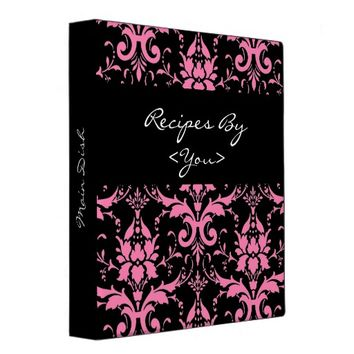 Pink and Black Damask Recipe Cook Book Binder