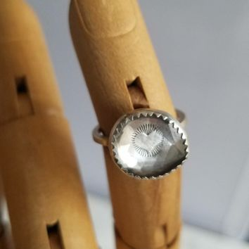 Hidden Signs Talisman Ring - Faceted Clear Quartz& Sterling Silver