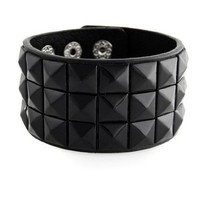 New Triple and Double Studded Punk Rock Wristband Bracelets Red / Black