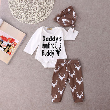 Newborn Baby Boys Clothes Deer Tops Bodysuits Pants 3pcs Hat Baby Boy 3PCS Outfits Set Clothing Long Sleeve