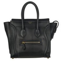 Celine Micro Black Leather Luggage Bag Tote  | Overstock.com