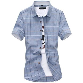 Plaid shirts Men 2019 New Fashion 100% Cotton Short Sleeved Summer Casual Men Shirt  camisa masculina Mens Dress Shirts