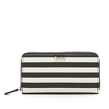 Kate Landry Cabana Zip-Around Wallet - Mint Stripe