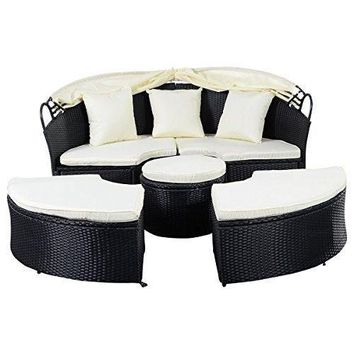 Daybed Patio Sofa Furniture Round Retractable Canopy Wicker Rattan Outdoor