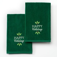 St. Nicholas Square ''Happy Holidays'' 2-pk. Hand Towels (Green)