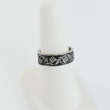 Sterling Silver Band - Engraved Sterling Ring Size 7.5 - Thick Sterling Band - Mexican Sterling Ring - Engraved Flower Ring - Floral Ring