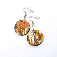 Autumn colors earrings. Brown terracota, silver, purple and yellow marble earrings. Boho hippie jewelry. Disc shaped pendant.