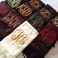 Brown and Blue Monogrammed Scarves - Bridesmaids - Chocolate Turquoise Wedding - Mom Gifts - Fall Accessories