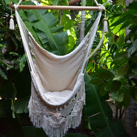 Hanging Hammock Chair Organic Cotton Porch Swing With Macrame Fringe Mission Hammocks