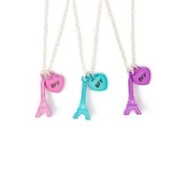 Best Friends Forever Metallic Eiffel Tower Pendant Necklaces Set of 3 | Claire's