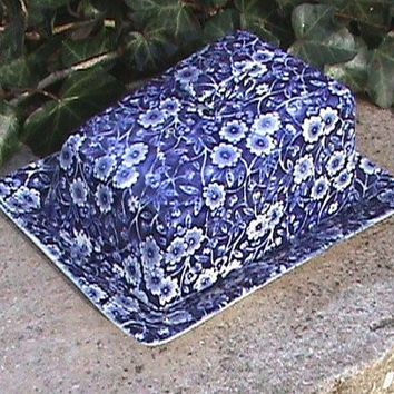 Royal Crownford Blue Calico Chintz Transferware Cheese Keeper Covered Butter Dish Tray