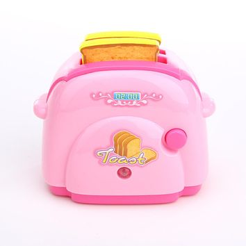 Baby Kitchen Toys Mini Toaster with Light Classic Toys Pretend Play Kitchen Toys for Children Pink Kitchen Toy