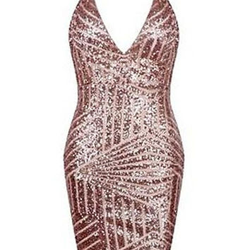 Halter V-Neck Sequined Bodycon Maxi Dress