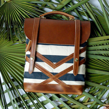 The Coastal Bag in Havana Stripe- hand printed, thick, canvas and horween leather