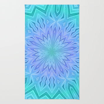 Purple Green and Blue Kaleidoscope Print Area & Throw Rug by Dawn Cavender