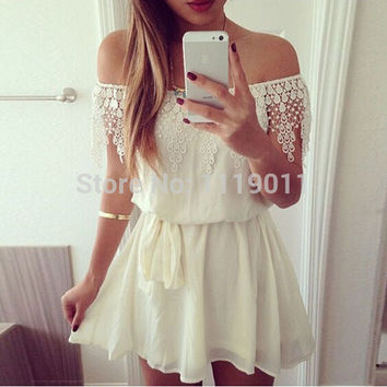 Strapless Crochet Lace Pleated White Loose Chiffon Dress