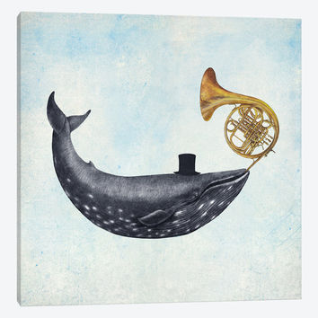 """Whale Song Blue Square by Terry Fan Canvas Print 26"""" L x 26"""" H x 0.75"""" D"""