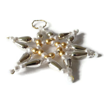 small seed bead star, beaded tree ornament for Christmas, decorative star in silver, white and gold