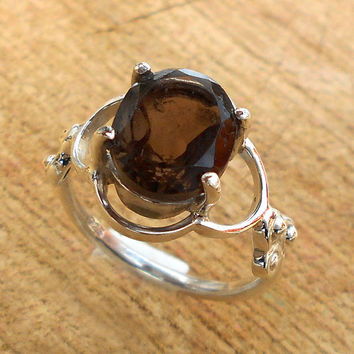 Designer Silver Ring, Smoky Quartz Ring, Fine Silver Ring, Handmade Ring, Gemstone Ring, Prong Setting Ring