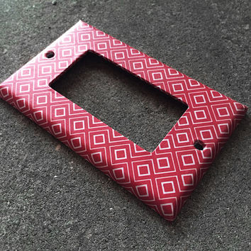 Decora Light Switchplate Cover - Red & White Diamond pattern, Decorative single rocker switch plate. Modern, Bedroom, home decor, Decorator
