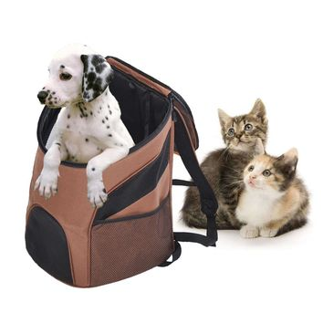 New Portable Outdoor Pet Dog Cat Bag Mesh Double Shoulder Backpack Travel Carrier for Dogs Cats Kittens Walking Travel Use