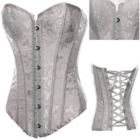 White Floral Lace Corset with Front Button