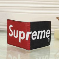 Louis Vuitton X Supreme Men Fashion Leather Wallet Purse