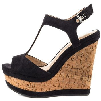 Women's Sexy Black Two Tone Cork High Heel Ankle Strap Platform Wedges