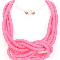 Neon Pink Knotted Rope Necklace And Earring Set