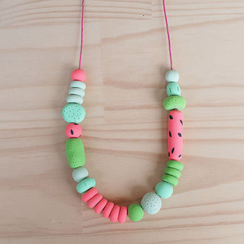 SALE Polymer Clay Necklace, Handmade and Textured Beads, Statement Necklace in Watermelon
