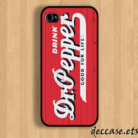 IPHONE 5 CASE dr pepper on wood vintage iPhone 4 case iPhone 4S case iPhone case Hard Plastic Case Soft Rubber Case