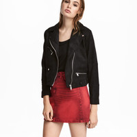 Faux Suede Biker Jacket - from H&M