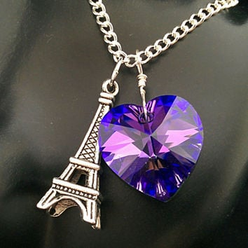 The Sophie- Paris J'Adore Purple Heliotrope Swarovski Crystal Heart and Sterling Eiffel Tower Charm Necklace