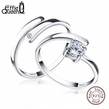 Effie Queen New Arrived Trendy Lover's Ring Genuine 925 Silver Adjustable Finger Rings For Women And Men BR22