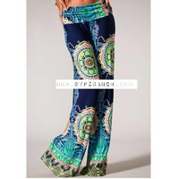 Medallion Navy Palazzo Pants - Plus Size :: Gypsy Ranch Boutique