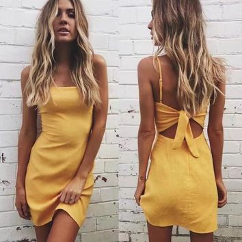 DCCKN6V Butterfly Spaghetti Strap Dress Summer Stylish One Piece Dress