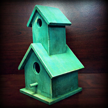 Hand Painted Tiffany Blue, MInt, Distressed Wooden Birdhouse