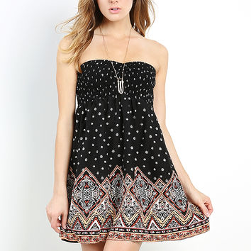 Abstract Pattern Babydoll Dress